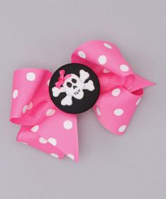 Take a look at this Pink Polka Dot Bow & Black Skull Clip by Picture Perfect Hair Bows on #zulily today!