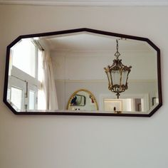 Art Deco over mantle mirror with wooden frame