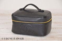 CHANEL Caviarskin Vanity CC Logo Cosmetic Bag A01997