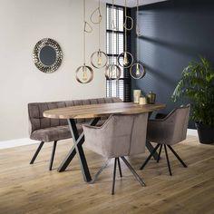 Elipseformet spisebord i massiv valnød Entryway Bench, Dining Bench, Office Desk, Interior, Kitchen, Furniture, Home Decor, Banquettes, Room Stuff