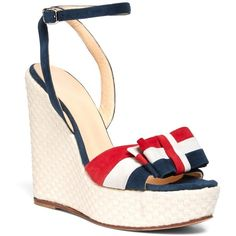 Brooks Brothers BOW WEDGE ($195) found on Polyvore featuring women's fashion, shoes, sandals, wedges, heels, stripe, heeled sandals, bow shoes, wedges shoes and bow heel shoes