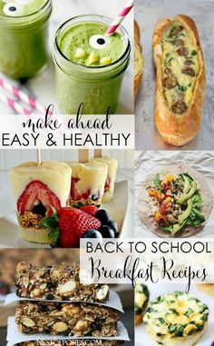 Make ahead easy and healthy Back to School Breakfast Recipes. For the picky Kindergarten to the starving teen!