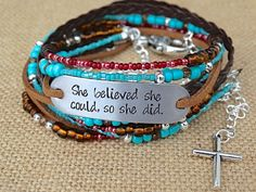 """RESERVED for Molly - """"She Believed She Could So She Did"""" Hand Stamped Bracelet by AllStrungOut925"""