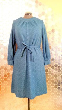 Blue and White Heathered 1960's Vintage Shift Dress Size 18 Mod Retro #Channel1