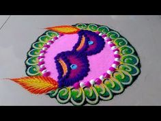 Diwali special very easy and quick Diya rangoli design by Jyoti Raut Rangoli Indian Rangoli Designs, Colorful Rangoli Designs, Beautiful Rangoli Designs, Rangoli Patterns, Rangoli Ideas, Sanskar Bharti Rangoli Designs, Simple Art Designs, Diya Rangoli, Festival Rangoli