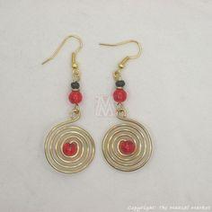Maasai Market African Kenya Jewelry Brass Swirl Color Bead Earrings 649-73