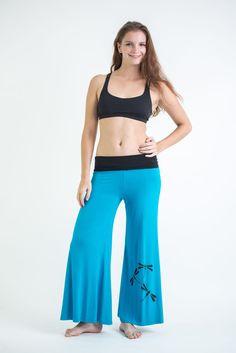 Wide Leg Palazzo Harem Pants Cotton Spandex Printed Dragonflies Blue