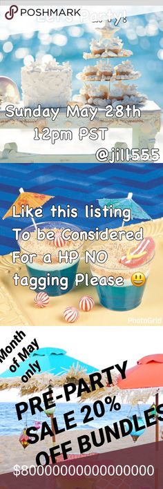 🍹PRE-PARTY BUNDLES 20% OFF IN MAY🍹LIKE FOR HP😃 🏖LIKE THIS LISTING for a potential HP🏖I don't have time to scroll through and my feed is to 😜 crazy! If you are not chosen you will be shared😃💕 Please take advantage of my 20% off Bundle sale this Month. I add items daily. 🎉Thanks for you love and support! Miss Me Other