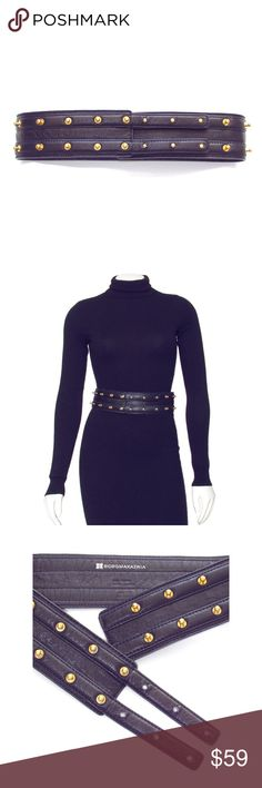 """BCBGMAXAZRIA Wide Navy Blue Leather Stud Belt Make a statement in this bold BCBGMAXAZRIA studded leather belt! Done in a dark navy blue color and accented with brushed gold studs, this 2.5"""" wide belt sits high on the waist, and is guaranteed to add extra style points to just about any look!  Designer: BCBGMAXAZRIA . Size: XS / S. Color: Dark Navy Blue with Brushed Gold Studs. Material: Genuine Leather. Pre Owned. Imported  Measurements:~27-30"""" Waist; 32"""" Total Length, 2.5"""" Width…"""