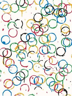 "In Art Class: Olympic Rings  From BBC News :RRachel Whiteread, was the first woman to win the prestigious Turner Prize 1993. Best known for her sculpture, she created this piece using the five Olympic colours. The rings represent the famous Olympic rings, but also marks left by drinking bottles or glasses. Organisers said the stains act as ""memories of a social gathering""."