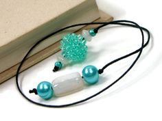 Book Thong Beaded Bookmark Light Teal Green White by TJBdesigns