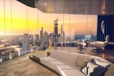 A proposed sitting room over looking the Gold coast skyline in the afternoon.