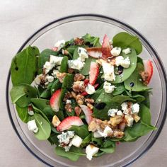 Spinach Strawberry Salad, Ken's has New Lite Strawberry Vinaigrette, which would go wonderfully with this!