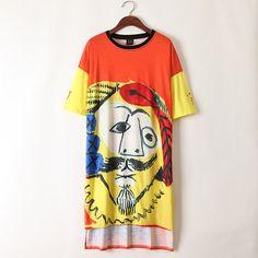Women Casual Loose Print Graffiti  Short Sleeve O-neck Harem Tops Hip Hop Long Dress Orange T Shirt 2017 Hot High Quality