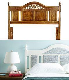 Painted Wood Headboard, Headboard Makeover, Old Headboard, Furniture Makeover, Headboards, Headboard Ideas, Furniture Ideas, Diy Bedroom Decor, Home Decor