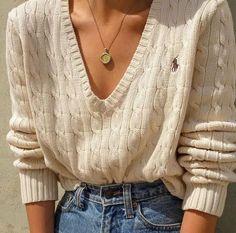 Goodshop Badshop Vintage cream Polo Ralph Lauren cotton deep v-neck cable  knit sweater aae53f5df667