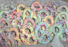 Chocolate covered Easter pretzels, just melt the candy melts, sprinkles and large or mini pretzels . . .