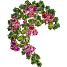 STRIKING Vtg CROWN TRIFARI 1961 Peridot Green Pink Fuchsia Crescent Brooch Pin