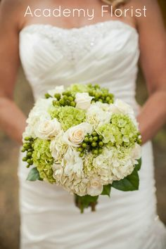 Green and White Bouquet - hydrangea, roses, and berries. Nice and simple and lush! By @Academy Florist