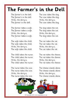 The Farmer's in the Dell Song Sheet - SparkleBox Nursery Rhymes Lyrics, Old Nursery Rhymes, Nursery Songs For Babies, Nursery Rhymes Preschool, Kindergarten Songs, Preschool Songs, Free Preschool, Preschool Classroom, Preschool Worksheets