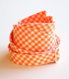 Orange gingham (Endzone) bowtie $35