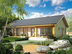 Projekt domu AC Eryk (z wiatą) CE - DOM - gotowy koszt budowy Simple House Design, Modern House Design, House In The Woods, Bathroom Interior, Future House, Ideal Home, Bali, House Plans, Sweet Home
