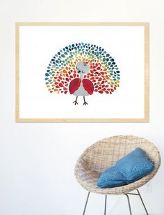 what about drawing my own version of a peacock & using the kids fingerprints for the feathers??