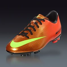 Nike Mercurial Victory IV FG Junior - Sunset/Total Crimson/Volt/Black Firm Ground Soccer Shoes || SOCCER.COM