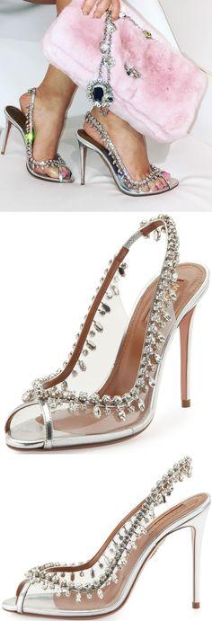 Aquazzura Temptation Crystal Slingback Sandal, Silver