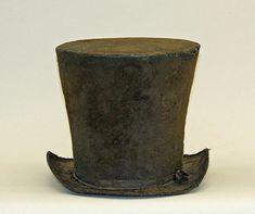 (c. 1829) American top hat made of wool.