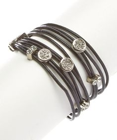 Look at this Silver & Black Rhinestone Leather Wrap Bracelet on #zulily today!