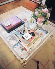 lucite coffee table, peonies