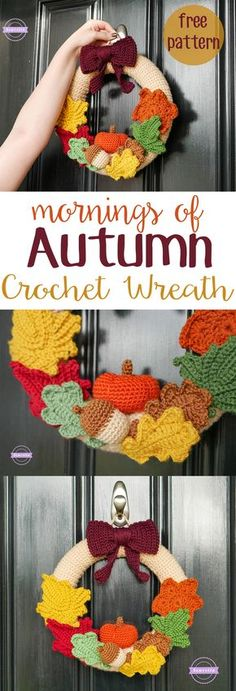 Mornings of Autumn Crochet Wreath Free Pattern from Sewrella Hang it with an Outdoor Command Brand Hook for ease & Style! I hope you have enjoyed this beautiful crochet, the free pattern is HERE so you can make a beautiful crochet. Crochet Christmas Wreath, Crochet Wreath, Holiday Crochet, Crochet Puff Flower, Crochet Flower Patterns, Crochet Flowers, Crochet Ideas, Crochet Leaves, Diy Flowers
