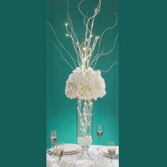 Versatile white branch for creating amazing table arrangements and room decor. The illuminated branches add height and a dramatic glow. Batery operated branch lasts 48 hours using three AA batteries. 20 White lights, all on tips of twigs. Branch is 31.5 inches tall.
