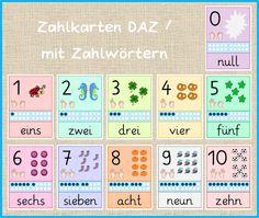 DAZ payment cards / with number words - Mrs. Locke- Zahlkarten DAZ / mit Zahlwörtern – Frau Locke DAZ payment cards / with number words – Mrs. 1st Grade Math, Kindergarten Math, First Grade, Preschool, Primary Education, Elementary Schools, Number Words, Fun At Work, Math Games