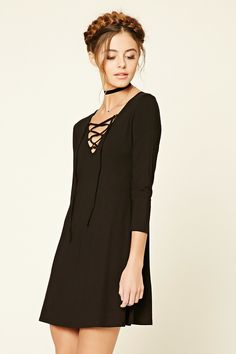 Lace-Up Swing Dress | Forever 21 - 2000197902