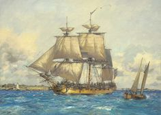 Geoff Hunt 'Ranger Bound for France' limited edition print. From Hunt's series depicting naval actions from the War of Independence and the War of Nautical Artwork, Uss Constitution, Ship Paintings, Man Of War, Naval History, Exploration, Wooden Ship, Navy Ships, Ship Art