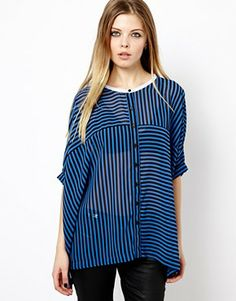 Image 1 of ASOS Blouse with Contrast Collar in Cut About Stripe