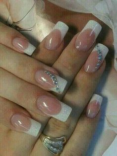 50 Top Best Wedding Nail Art Designs to Get Inspired French Nails, French Manicure Nails, Elegant Nails, Stylish Nails, Simple Acrylic Nails, Bride Nails, Wedding Nails Design, Toe Nails, Nail Tips