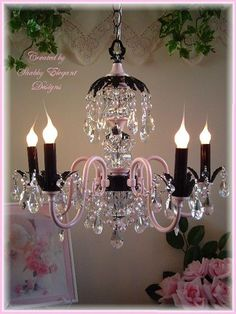 Pink and Black Chandelier