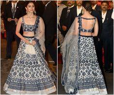 PICS: Isha Ambani-Anand Piramal Wedding: Alia Bhatt looks drop-dead-gorgeous in a blue and ivory Manish Malhotra lehenga - Mukesh Ambani and Nita Ambani's Indian Blouse Designs, Fancy Blouse Designs, Saree Blouse Designs, Manish Malhotra Lehenga, Bollywood Lehenga, Sabyasachi, Blouse Lehenga, Lehnga Dress, Banarasi Lehenga