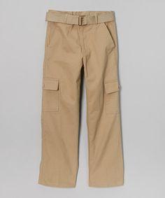 Look at this #zulilyfind! Khaki Cargo Pants & Belt - Boys by Beverly Hills Polo Club #zulilyfinds