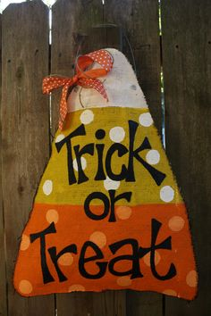 Candy Corn door hanging made out of burlap