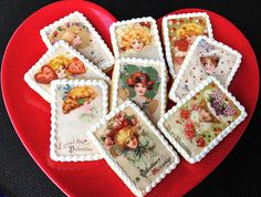 VALENTINE Edwardian Beauties WAFER PAPERS for Cookies - Art Nouveau Edible Images. $8.00, via Etsy.