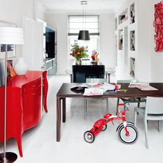 White kitchen with red highlights