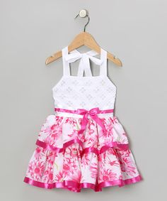 Take a look at this Fuchsia Floral Halter Dress - Toddler & Girls by Lele for Kids on #zulily today!