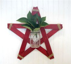 Handmade Rustic Red Wood Star Mason Jar Wall Vase by SimplyCountryHome Mason Jar Wall Sconce, Wall Vases, Light Up Canvas, Paint Stir Sticks, Patriotic Decorations, Patriotic Crafts, July Crafts, Americana Crafts, Christmas Decorations