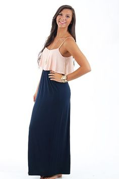 I Love It Maxi Dress, peach/navy $45 www.themintjulepboutique.com