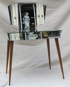 Coiffeuse miroir triptyque vintage annees 60 70 venitien for Commode antique avec miroir