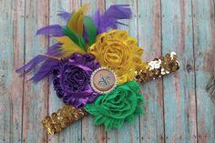 Fluer di Lis Mardi Gras Headband Hair Piece Mardi Gras Hair Clip by MiyahsCloset on Etsy
